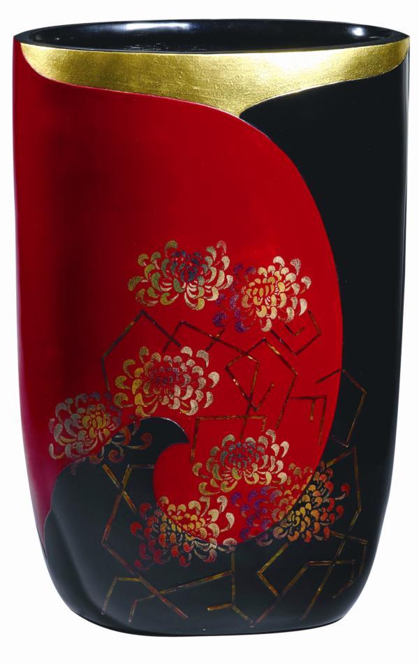 脫胎漆瓶.菊