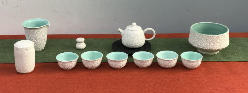 臺灣陶藝學會陳茂松秘書長茶具組-春雪