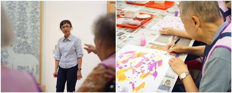 美術館與我體驗工作坊學員在展間討論作品及在工作坊創作(照片)