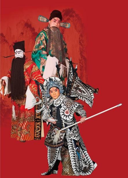 《渭南之戰》演出照片(2011)。(李寶春飾韓遂、田磊飾馬超、楊燕毅飾曹操)