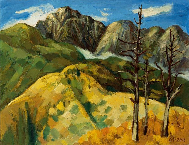 呂基正〈秋山雲影〉1963  油彩、麻布  41×53 cm