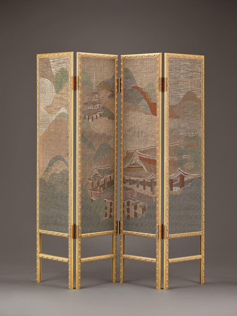 國立傳統藝術中心典藏作品〈塞外出獵圖〉。