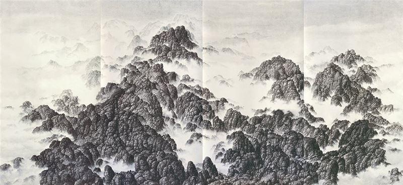 夏一夫〈群山四聯屏〉1995 水墨、紙本 103.2×222.8 cm