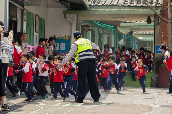 More than 200 kindergarten students and teachers participated in the fire drill.