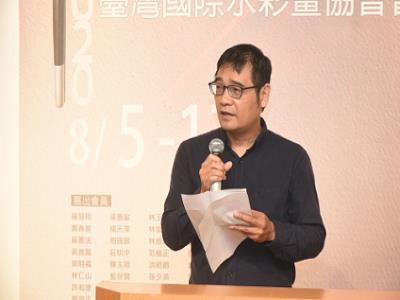 臺灣國際水彩畫協會現任理事長林仁山老師致詞.