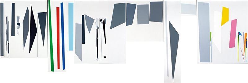 胡坤榮〈八分之八〉1995  壓克力顏料、畫布  200×630 cm