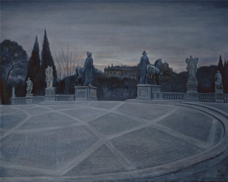Chen Jing-rong〈A Plaza in Rome(I)〉1993 Oil on canvas 193×192.5 cm