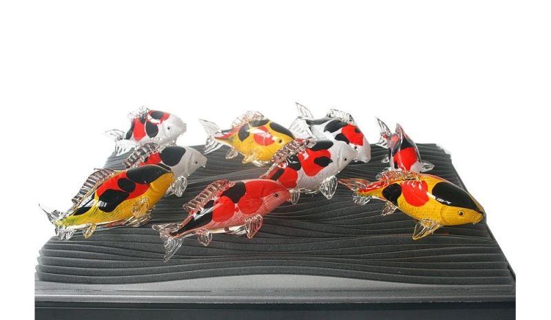 Glass carp fish produced by Spring Pool Glass /春池玻璃 - 九鯉呈祥