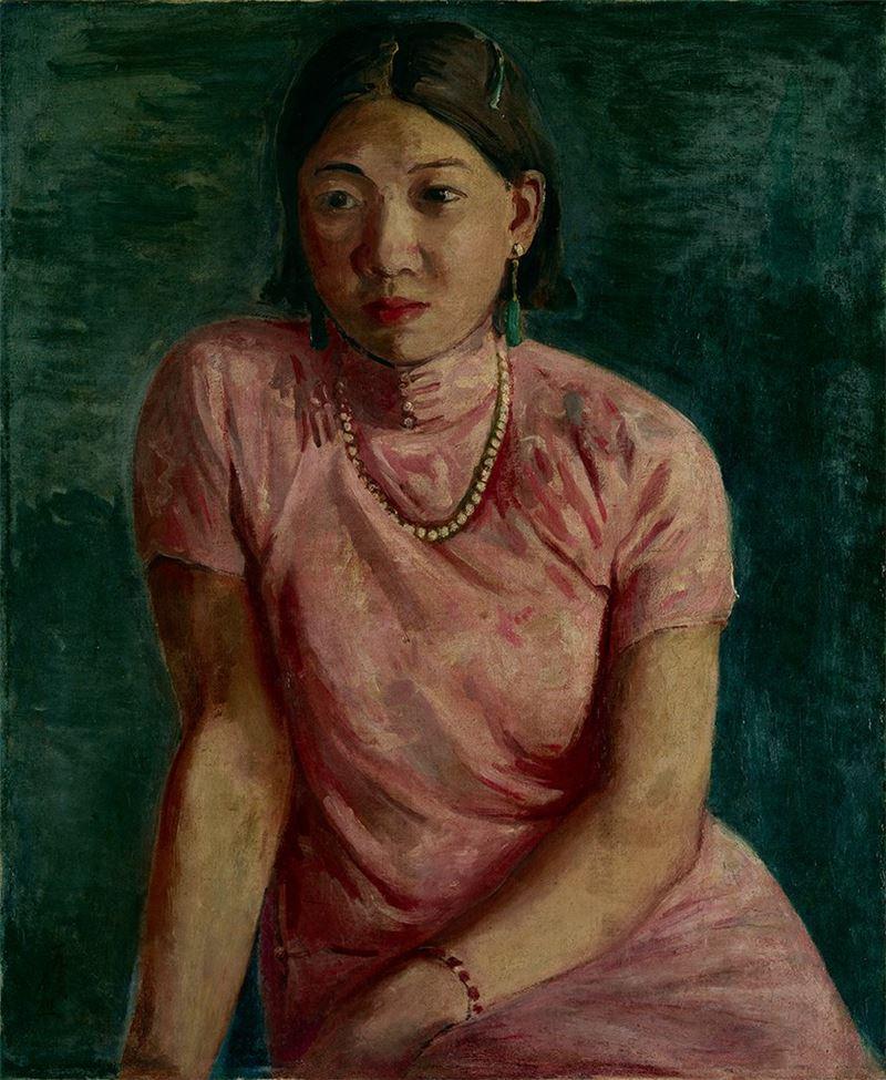 李石樵〈珍珠的項鍊〉1936  油彩、畫布  72.5×60 cm