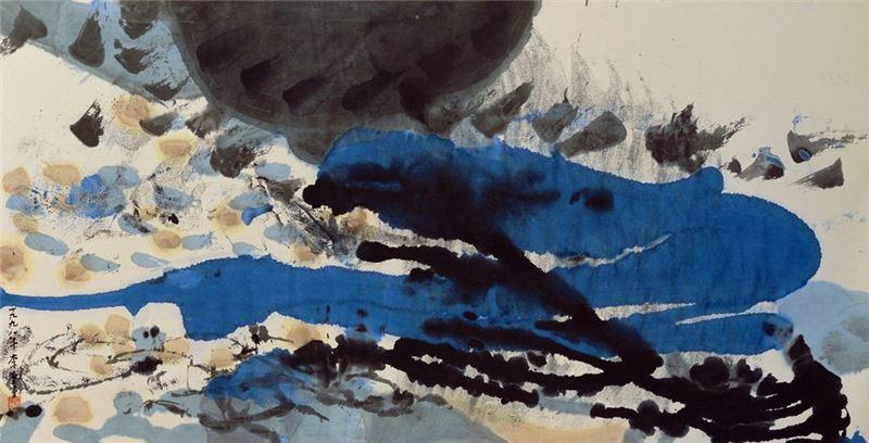 李重重〈生機〉1998 水墨設色、紙本 70×137 cm