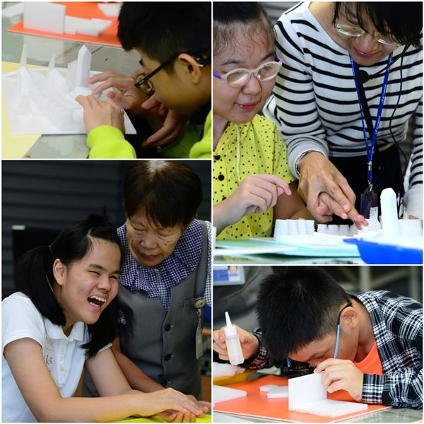 「非視覺探索計畫」(國美館的視障服務專案活動)是一個套裝行程,在展場的畫作欣賞活動之後,會結合相同主題企劃動手做的單元,讓視障學員以非視覺的方法進行創作。(照片)