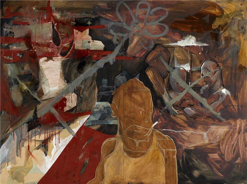 黨若洪〈雙叉 =Double X〉2011 油彩、木板 185×244 cm