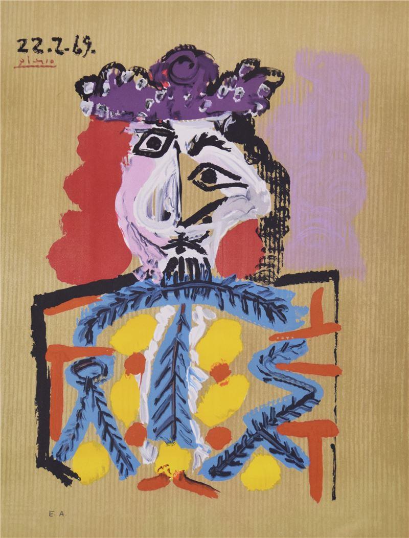 畢卡索〈22.2.69, 想像中的人物肖像〉彩色石版畫, 1969 – 1972