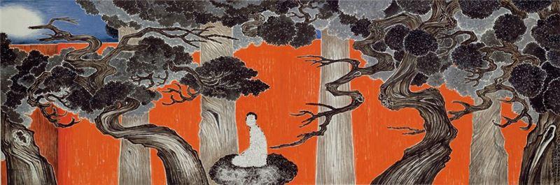 羅青〈一個人的文化大革命(一):空山龍虎鬥〉2008 彩墨、紙本 137.1×410.5 cm