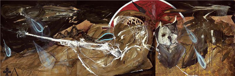 黨若洪〈人物、自我-雨中射擊〉2009 油彩、木板 122×366 cm