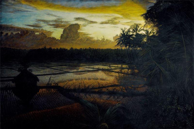 黃銘昌〈晚晴(水稻田系列)〉1999 油彩、畫布 130×194 cm
