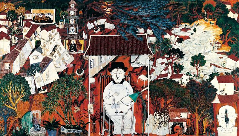 李明則〈四十而不惑〉1996 壓克力顏料、畫布 300 × 510 cm