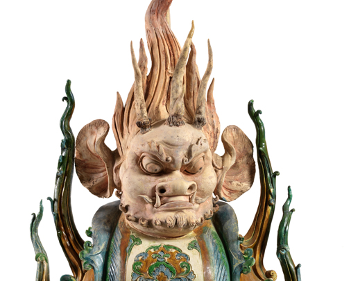 Tri-colour with blue glazed  human-face chimera, detail-Large