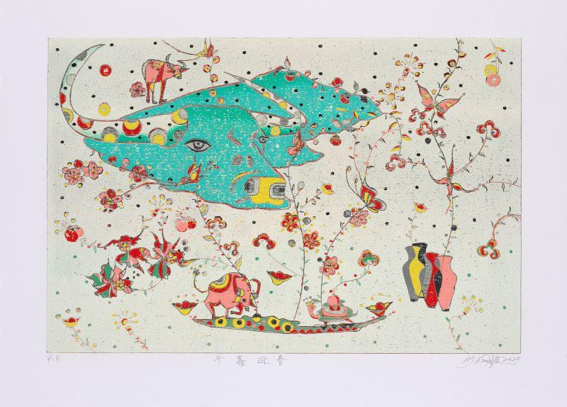 首獎_金炫辰〈牛喜迎春〉39.5×54.5cm,AP 凸版版畫