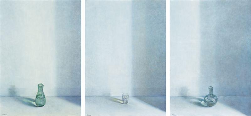 奚淞 〈敬、淨、靜〉2010 油彩、畫布 160.5×110.5 cm×3 pieces