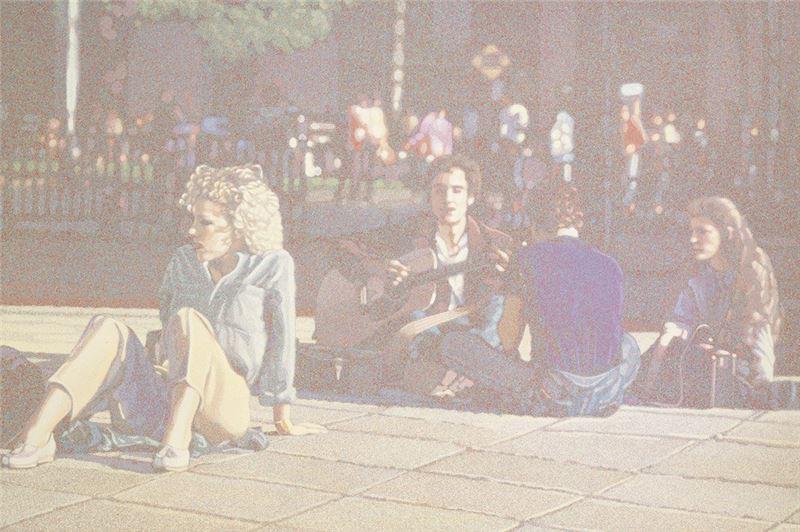 韓湘寧〈華盛頓廣場的音樂〉1982 油彩、畫布 152.8×228.8 cm