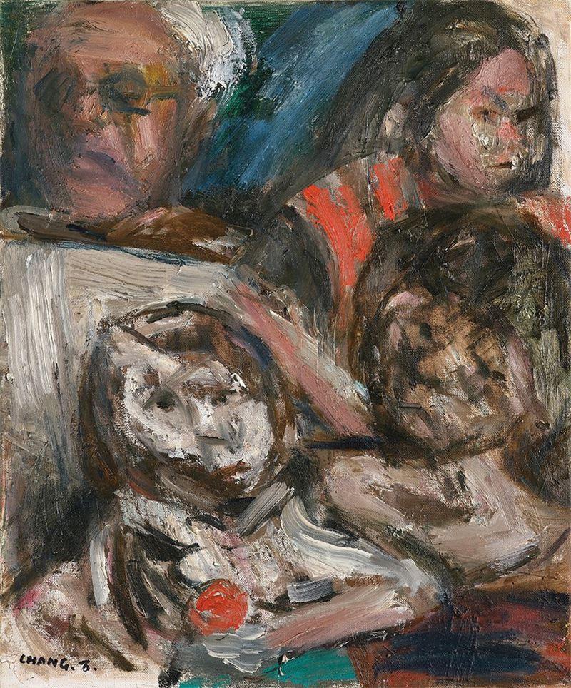 張萬傳〈家族〉1988  油彩、畫布  45×39.8 cm