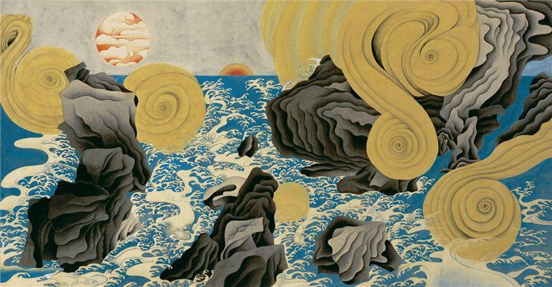 YUAN Zhan〈Genesis〉1998 Iwa-enogu on silk 91×174.1 cm