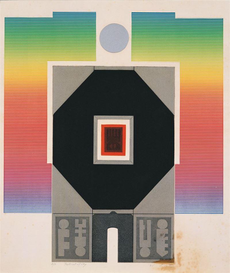 廖修平〈天之慶典〉1971 併用版 54×46 cm