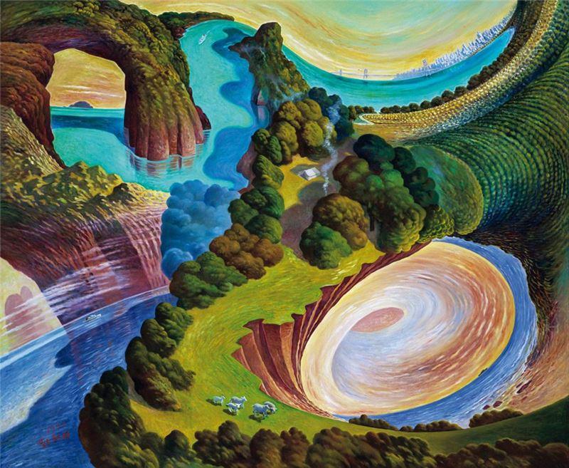 蘇新田〈野營‧羊群‧斜陽‧海風〉1992 油彩、畫布 172.8×209 cm