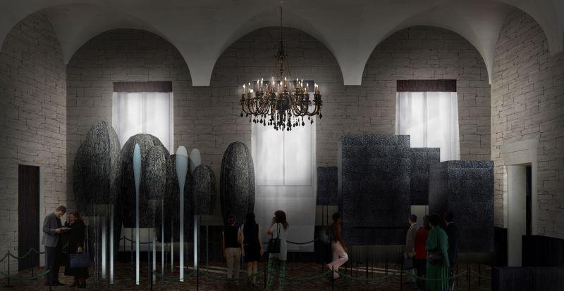 天然修道院、原始知覺研究室模型於普里奇歐尼宮展出之概念模擬圖(自然洋行建築設計團隊提供)