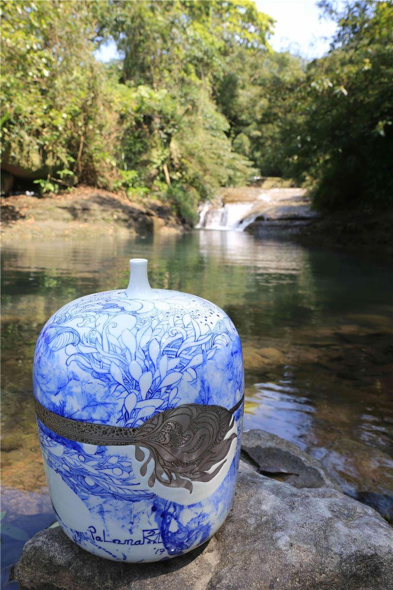 池上鳳珠-滴水系列之49-2017年瓷器鎏白金