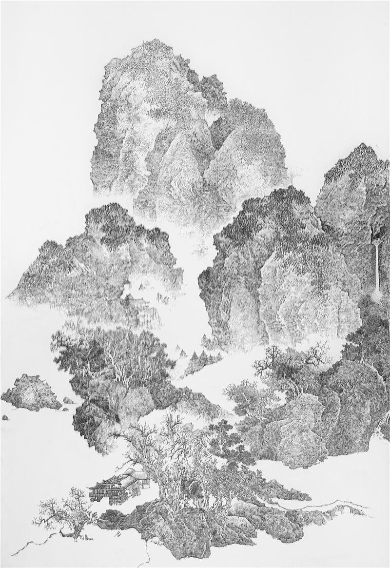 陳浚豪〈臨摹宋范寬臨流獨坐圖〉2010 不鏽鋼蚊釘、畫布、木板 280×188 cm