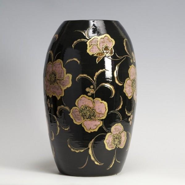 2009   Black Glazed Vase with Golden Flowers Pattern