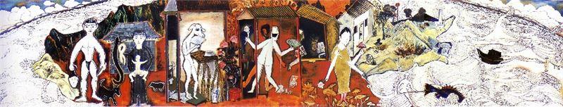 李明則〈台灣頭台灣尾〉1996 壓克力顏料、畫布 206×1015 cm