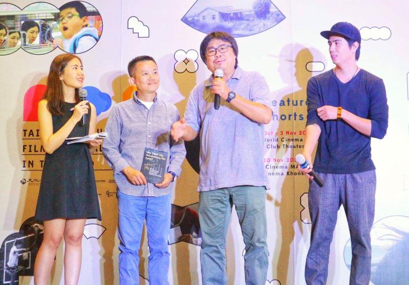 影展由三位臺灣導演盧盈良(左二)、吳耀東(右二)、李永超(右一)簡短分享作品進入開幕序曲