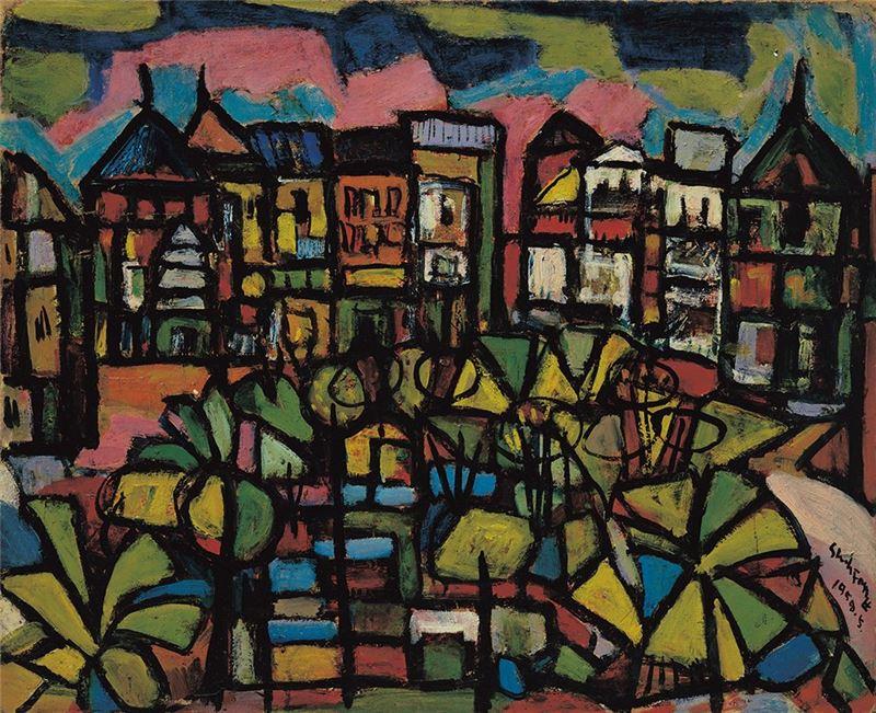 鄭世璠〈西門町〉1958  油彩、甘蔗板  53×65 cm
