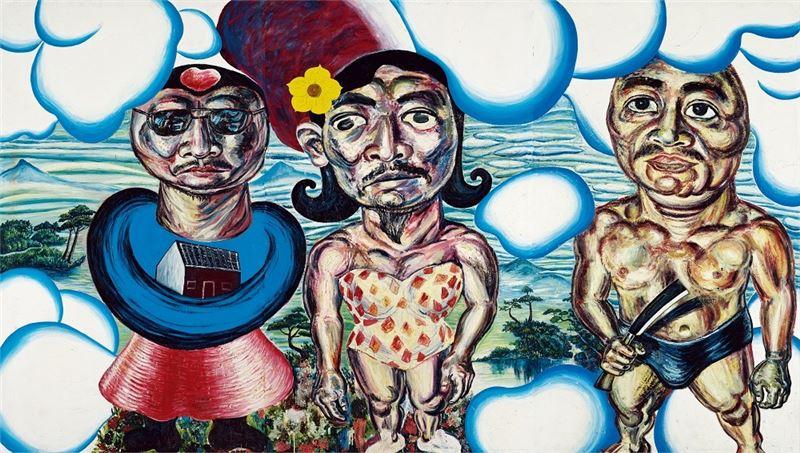 黃進河〈天上的流氓〉1990 油彩、畫布 280×489 cm