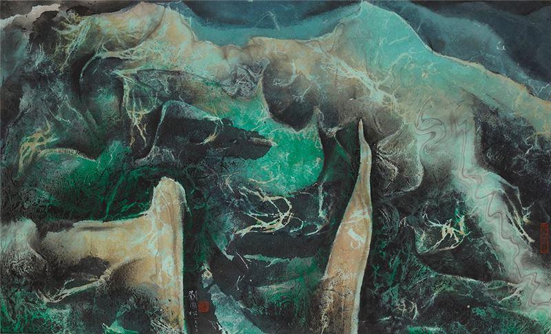劉國松〈玄想的諸峰〉1975 水墨、紙本 57.5×94.3 cm