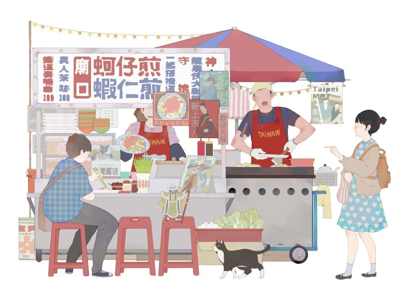臺灣漫畫家左萱為本活動繪製「蚵仔煎」看版