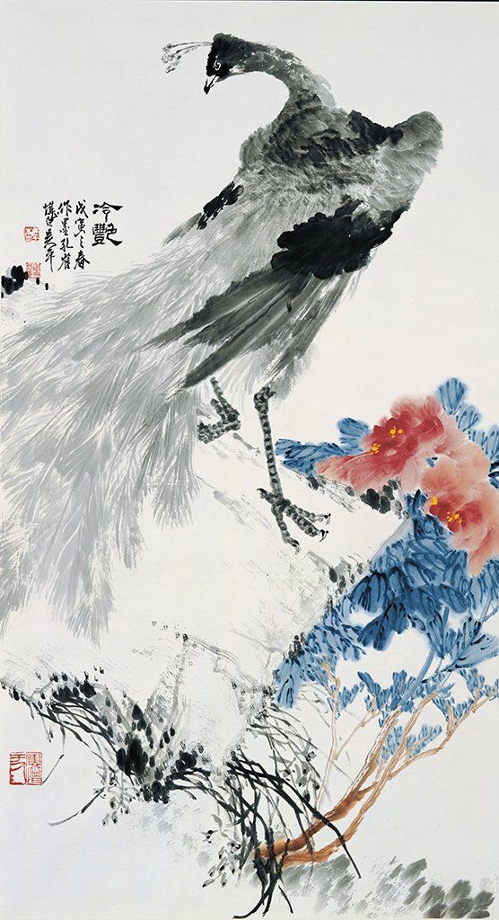WU Ping〈Peacocks in Black Water Ink〉1998  Color ink on paper  149×80.8 cm