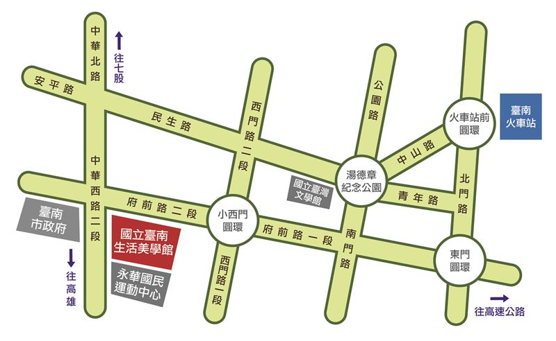 國立臺南生活美學館交通位置圖