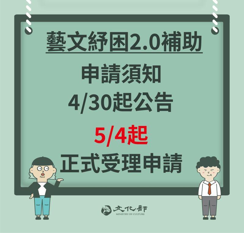 藝文紓困2.0今(30)日公布須知,並於5月4日開始受理申請。