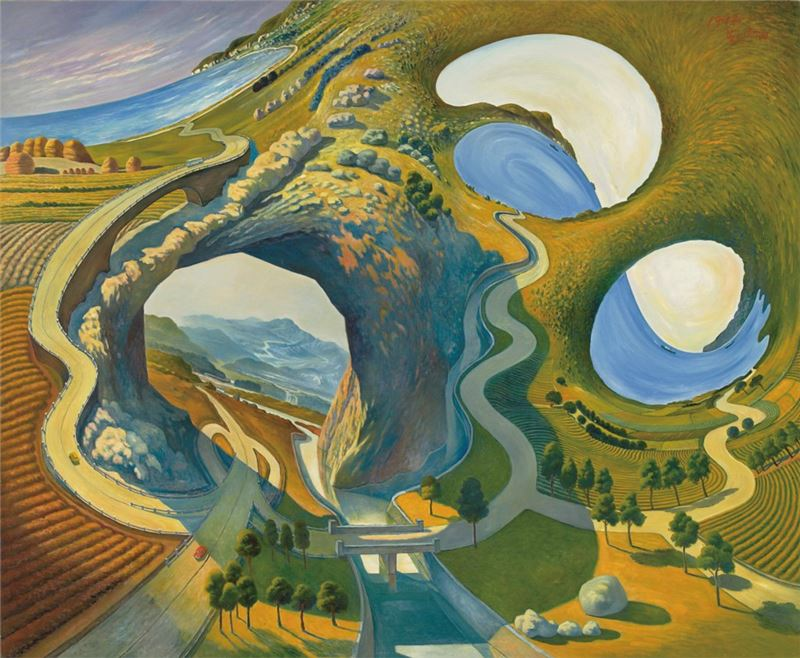 Su Hsin-tien〈Verdant Mountains Green Waters〉1992 Oil on canvas 209×172 cm