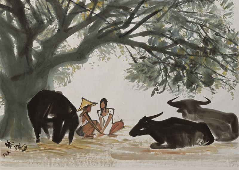 席德進〈牛與人〉1975 水墨畫65.2 x 92.8 cm 國立臺灣美術館典藏