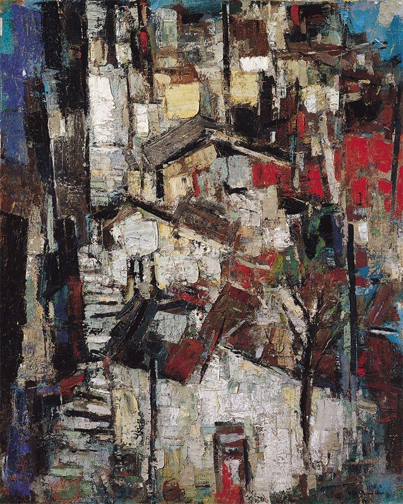 何肇衢〈九份(西社川山城)〉 1966 油彩、畫布 100×80.4 cm