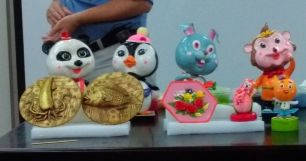 A sample of cartoonish rice dough sculptures made by Xie.