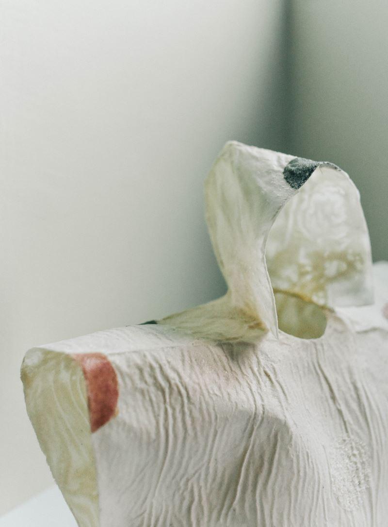 藝術家李姿玲將魚鱗、魚膠及石粉結合之作品