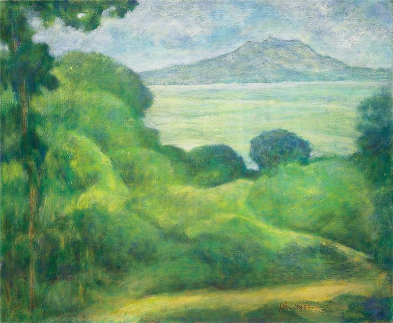 廖德政〈遠眺觀音山〉1986  油彩、畫布  50×60 cm