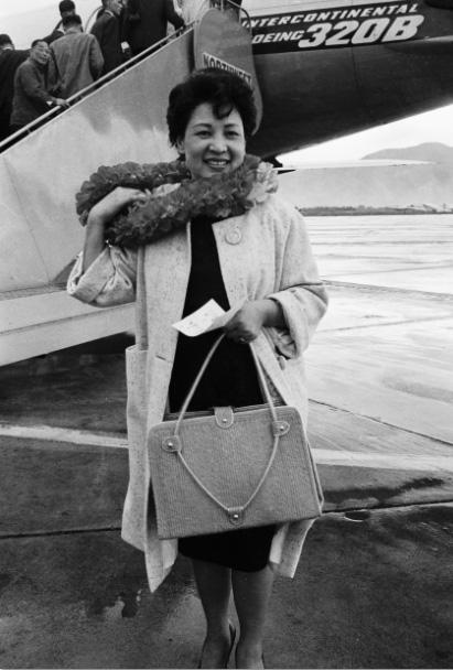 1965年林海音受美國國務院邀請搭機赴美訪問(來源/中央社)