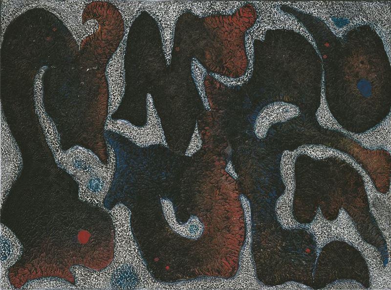 李錫奇〈遠古的記憶9189〉1992 複合媒材 93×126 cm